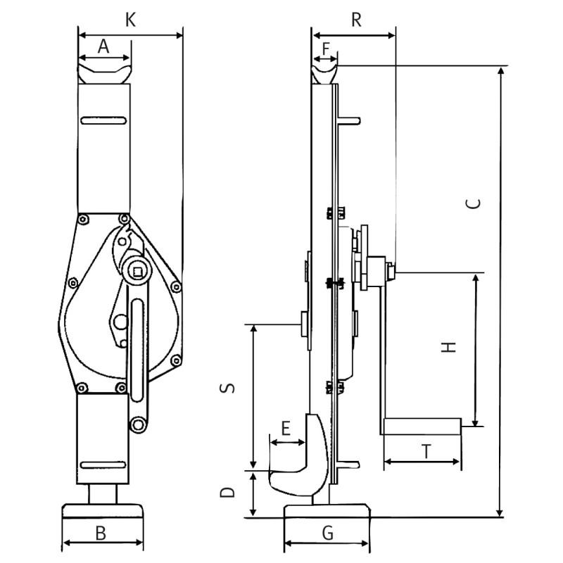 Vinci de otel cu cremaliera Unicraft SW 5 - dimensiuni de gabarit