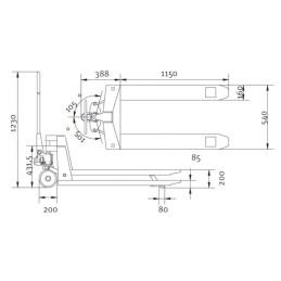 Transpalet standard Unicraft PHW 2506 - dimensiuni de gabarit