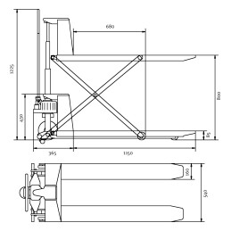 Transpalet foarfeca manual Unicraft PHH 1001 - dimensiuni de gabarit