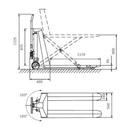 Transpalet foarfeca electric Unicraft PHH 1003 E - dimensiuni de gabarit