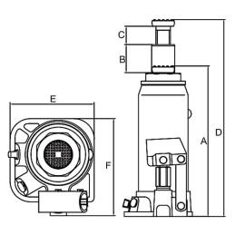 Cric hidraulic Unicraft HSWH 3 - dimensiuni