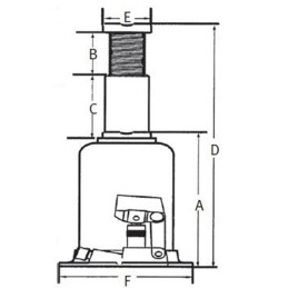 Cric hidraulic profesional Unicraft HSWH Pro 10 - dimensiuni