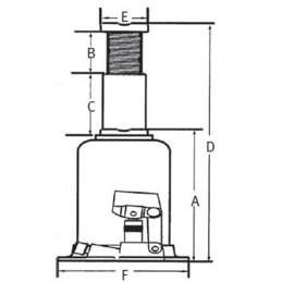 Cric hidraulic profesional Unicraft HSWH Pro 20 - dimensiuni